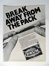 1985 Print Ad DRUM Cigarette Tobacco Rolling Papers ~ Break Away From the Pack
