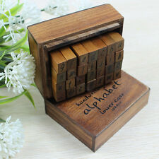 Hot! 28Pcs/Set Handwriting Alphabet Lower Case + Symbols Rubber Stamp Wooden Box