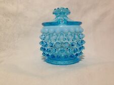 Vintage Fenton Hobnail Blue Opalescent Glass Mustard Jar With Blue Lid-No Spoon