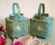 2 x blu uovo d'anatra pizzo LANTERNA TEA LIGHT CANDLE HOLDER shabby chic wedding CASA