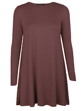 Womens Ladies Plain Jersey Long Sleeve Swing Stretch Plus Size Top Dress 8-26