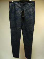ZARA BLACK FAUX LEATHER ELASTIC WAIST NAVY BLUE CROCHET DETAIL LEGGINGS SIZE L