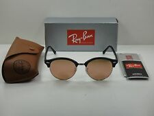 RAY-BAN CLUBROUND SUNGLASSES RB4246 1197Z2 BLACK & SILVER/COPPER FLASH LENS 51MM