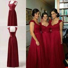 Burgundy Red Chiffon Corset Long Bridesmaids Dress, Formal Prom Dress