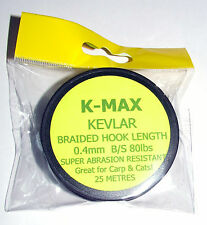 K-Max Kevlar Hook Length 80lbs 0.40mm 25mtrs - Catfish, Coarse