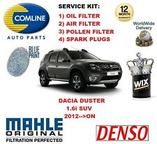 DACIA DUSTER 1.6 SUV 2012-- ON OIL AIR POLLEN FILTER + SPARK PLUGS SERVICE KIT
