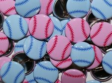"25 Baby Shower 1"" Pinbacks - Basebal Pink & Blue - Gender Reveal"