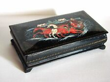 ANTIQUE Soviet Russian USSR wooden lacquer box jewelry Palekh vintage painted