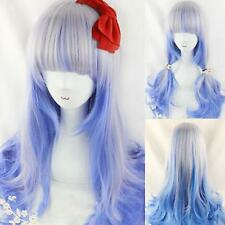 Mixed Color Silk Highlights Wavy Curly Hair Girl Wig Anime Cosplay Party Supply