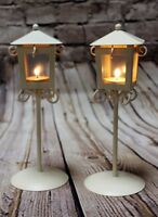 2 CREAM white metal post style Lanterns - weddings Indoor outdoor dining room