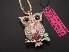 Betsey Johnson  jewelry shiny Rhinestone owl pendant necklace # F121