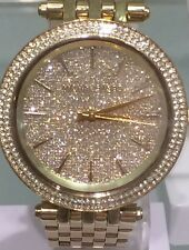 NWT MICHAEL KORS Gold Darci Glitz Swarovski Crystal Dial 39mm Watch MK3438 $325