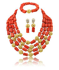 African Coral four Layers Party Wedding Necklace Earring Bracelet Jewellery Set