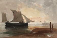 GENERAL GEORGE CHARLES D'AGUILAR Painting FISHING BOAT APPROACHING HARBOUR c1840