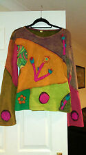 Handmade quirky unusual cotton top felt flowers from Nepal, size M Brand New