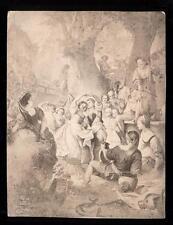 1860s-70s Albumen Print Das Erntefest by Artist Andreas Müller Germany Bruckmann