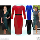 Womens Midi Dress Bodycon Pencil Smart Evening Party Celeb Black Red Royal 8 14