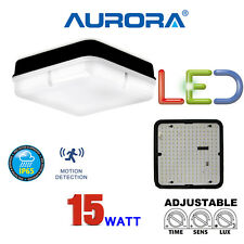 AURORA LED 15 WATT MICROWAVE OCCUPANCY SENSOR BULKHEAD LIGHT AUTOMATIC BLACK