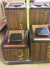 KROMEX 4 Pc Tin Canister Set - Wood Grain Design w Copper Lids - Retro 1960's
