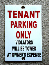"""TENANT PARKING ONLY   8""""x12"""" Plastic Coroplast Sign w/Grommets"""