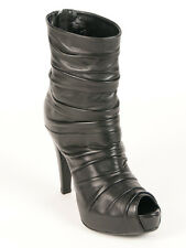 New  Loriblu Black Leather Peep Toe Boots Size 37 US 7