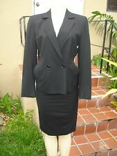 AKRIS for SAKS JANDEL BLACK PINSTRIPE DOUBLE BREASTED JACKET SKIRT SUIT Sz 4