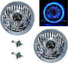 "7"" Halogen H4 Headlight Headlamp Blue LED Halo Angel Eyes Light Bulbs 12 Volt"