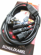 3-fach Netzkabel Strom-Kabel -Verteiler 3-wege Kaltgerätekabel Schuko Monitor PC
