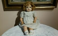 VINTAGE HORSMAN COMPOSITION HEAD SLEEPY EYES OPEN MOUTH WITH TEETH DOLL 22""