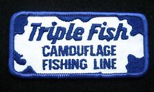 TRIPLE FISH CAMOUFLAGE FISHING LINE EMBROIDERED SEW ON PATCH ANGLER JIG TACKLE