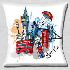 """BIG Ben di Londra Tower Bridge Rosso Bus Telefono Box WHITE 16"""" CUSCINO COVER"""