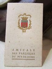 ancien carnet de bal 1924 amicale des parisiens du puy de dome 63