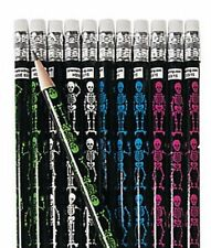 Pack of 12 - Skeleton Pencils with Erasers - Halloween Party Loot Bag Fillers