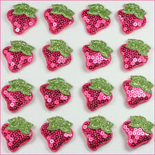 10pcs Hot pink Padded Sequin Strawberry Appliques Embellishment Trim Sewing