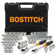 Bostitch 65 Pc Pass-Through Ratchet & Socket Set! SAE Metric 3/8 Tool Kit Thru
