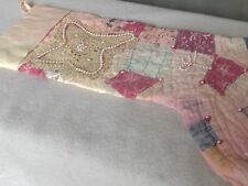Christmas Stocking Vintage Quilt Decorated Pink Pearls Lace Old Fabric
