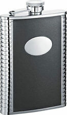 Visol Tux 8oz Black Leather Stainless Steel Liquor Hip Flask, FREE ENGRAVING
