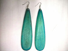SUPER LONG BOLD BIG TURQUOISE BLUE FLAT DROPLET SHAPE DANGLING FASHION EARRINGS