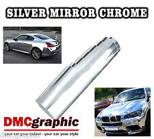 2xA4 Stretchable Silver Mirror Gloss Chrome Vehicle Vinyl Wrap Bubble Free