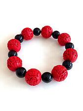 New Cute Handmade Beaded Stretch Bracelet Red Cinnabar Black Round Beads Canada