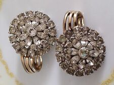JOMAZ Designer Signed Vintage Earrings Clip on! Great 1950's Diamante!