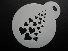 Laser cut small fading hearts design cake, cookie,craft & face painting stencil