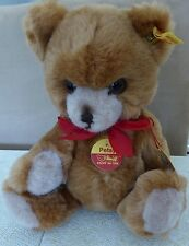 "Steiff Teddy Petsy, Light Brown 11"" with tags and button in ear"