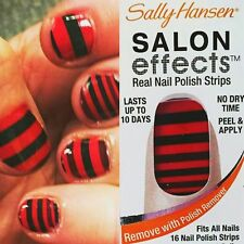 4 SALLY HANSEN Salon Effects NAIL POLISH STRIPS Stripe Tease 540 Red Black LOT