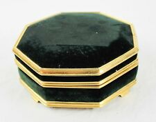 "Vintage Brass & Green Felt Velvet Mele Jewelry Box Octagon Shape 6"" Wide Mirror"