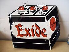 1956 EXIDE Battery Flange Metal Sign-Gas Station-Garage-Car-Truck-Chevy-Ford