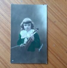 Vintage* Young boy Henri Manny with Violin and Bow 14th March 1917 Real photo.