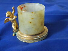 Antique Chinese jade cup with French gilded cherub holder