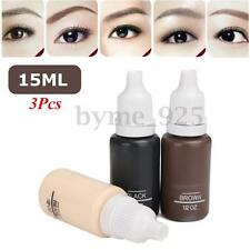 3PCS 1/2OZ 15ML Bottles Tattoo Ink Kit Set Permanent Eyebrow Makeup Pigment