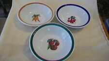 Set of Three Ceramic Soup or Cereal Bowls, Tomatoes, Radish, Carrots
